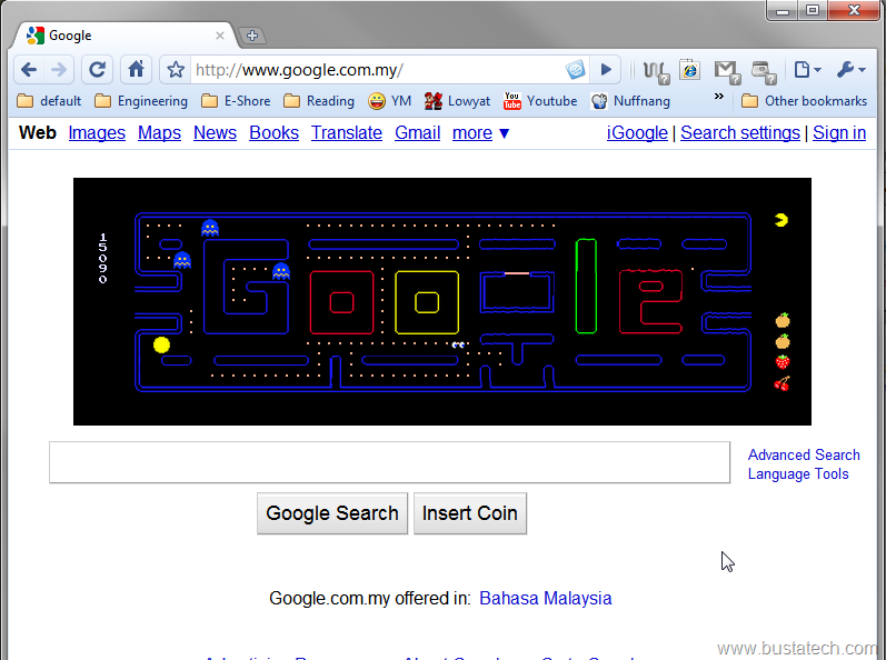 Google Pac-Man, Visit Www.google.com Today