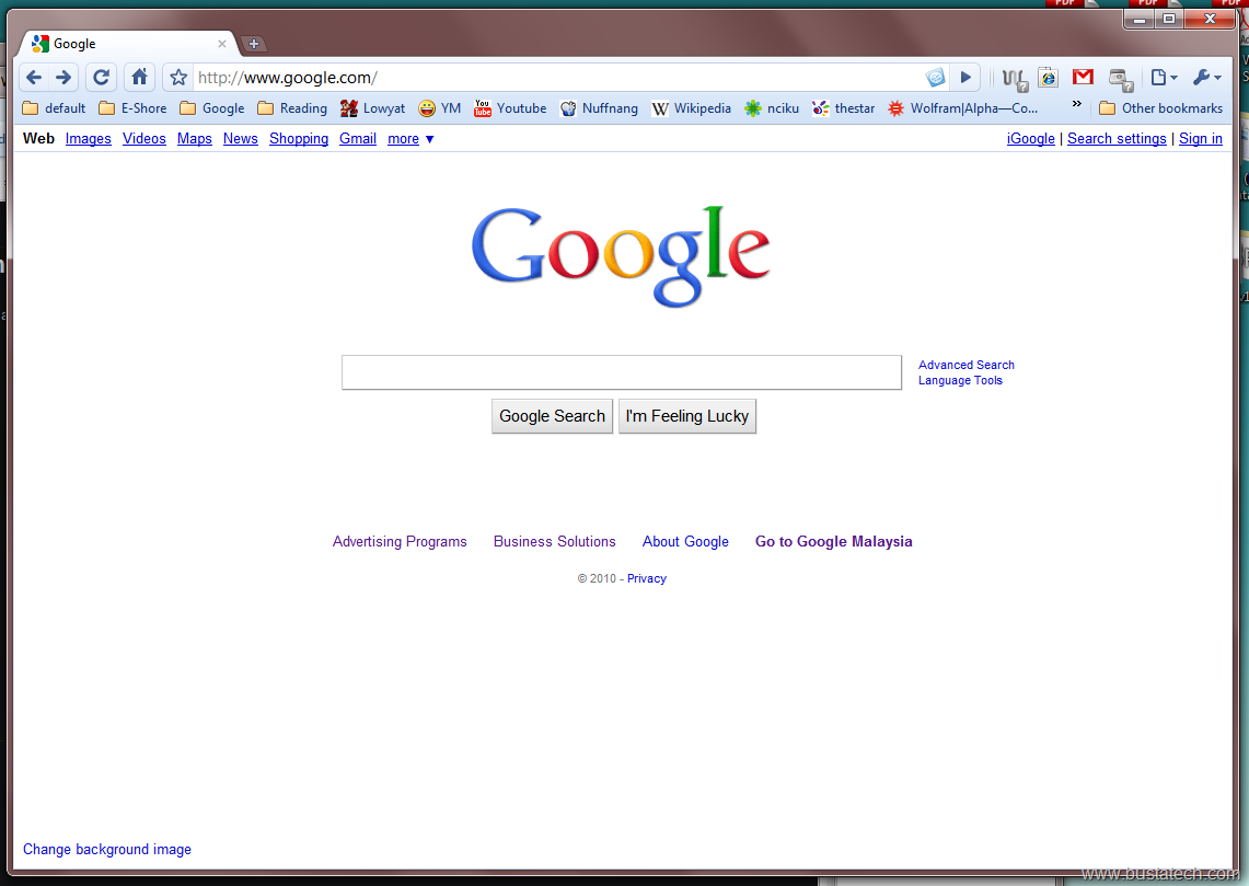 visit www google com and you should see a change background image at ...