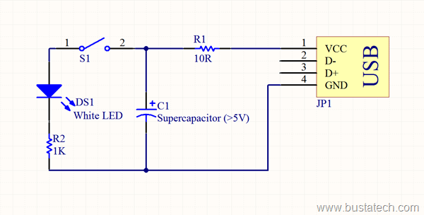 Supercapacitor USB Light Schematic 2