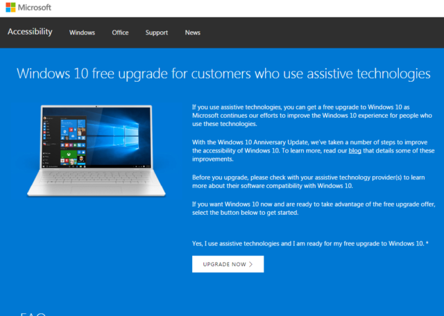 Windows 10 Upgrade Page